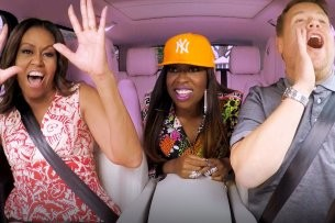 Michelle Obama, Missy Elliott und James Corden geben Gas